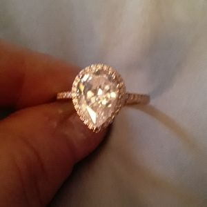Rose gold pear shape ring